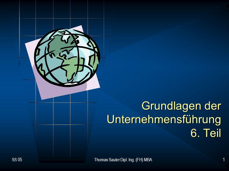 SS 05Thomas Sauter Dipl. Ing. (FH) MBA1 Grundlagen der Unternehmensführung 6. Teil