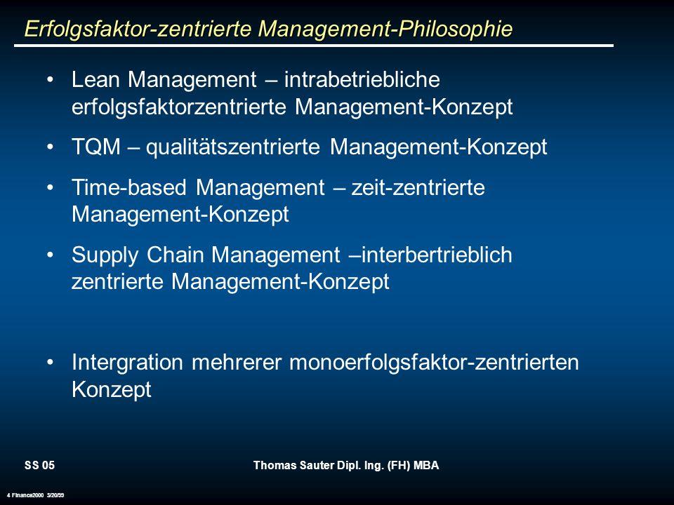 SS 05Thomas Sauter Dipl. Ing. (FH) MBA 4 Finance2000 3/20/99 Lean Management – intrabetriebliche erfolgsfaktorzentrierte Management-Konzept TQM – qual