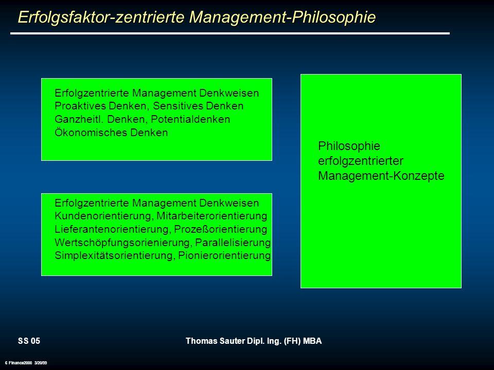 SS 05Thomas Sauter Dipl. Ing. (FH) MBA 6 Finance2000 3/20/99 Philosophie erfolgzentrierter Management-Konzepte Erfolgzentrierte Management Denkweisen
