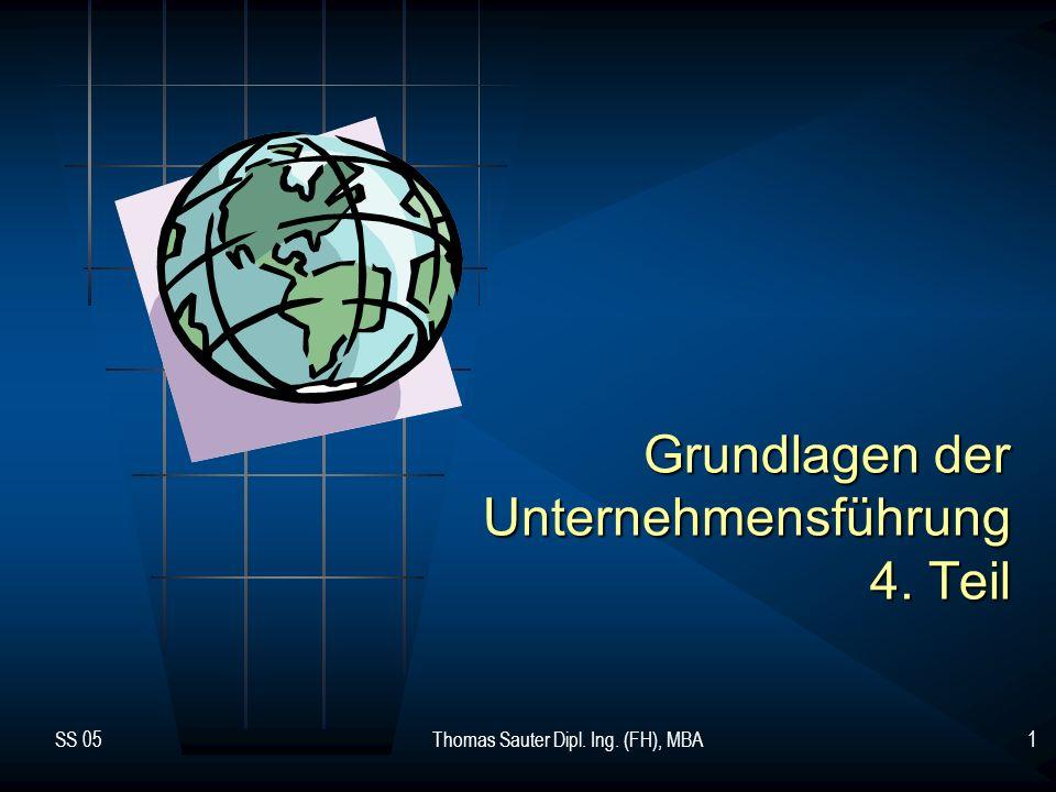 SS 05Thomas Sauter Dipl. Ing. (FH), MBA1 Grundlagen der Unternehmensführung 4. Teil