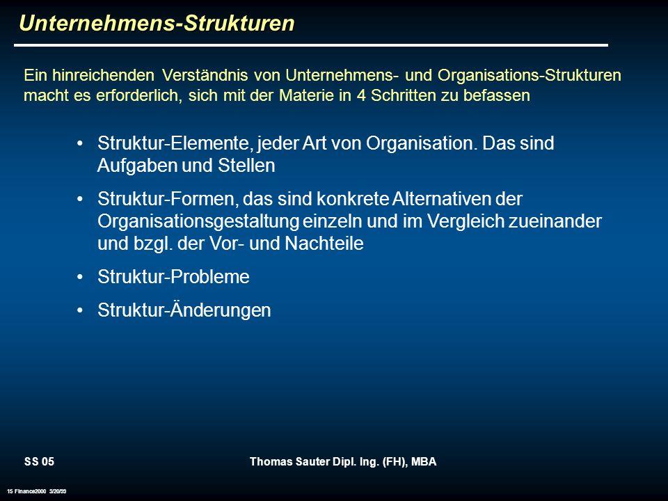 SS 05Thomas Sauter Dipl. Ing. (FH), MBA 15 Finance2000 3/20/99Unternehmens-Strukturen Ein hinreichenden Verständnis von Unternehmens- und Organisation