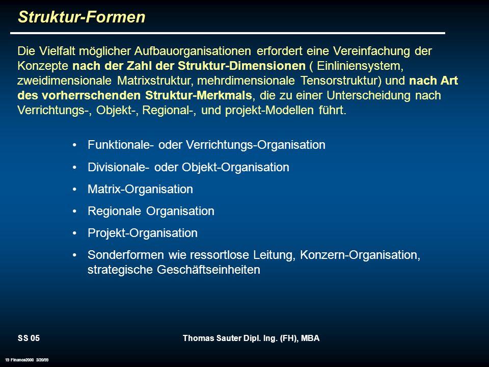 SS 05Thomas Sauter Dipl. Ing. (FH), MBA 19 Finance2000 3/20/99Struktur-Formen Die Vielfalt möglicher Aufbauorganisationen erfordert eine Vereinfachung