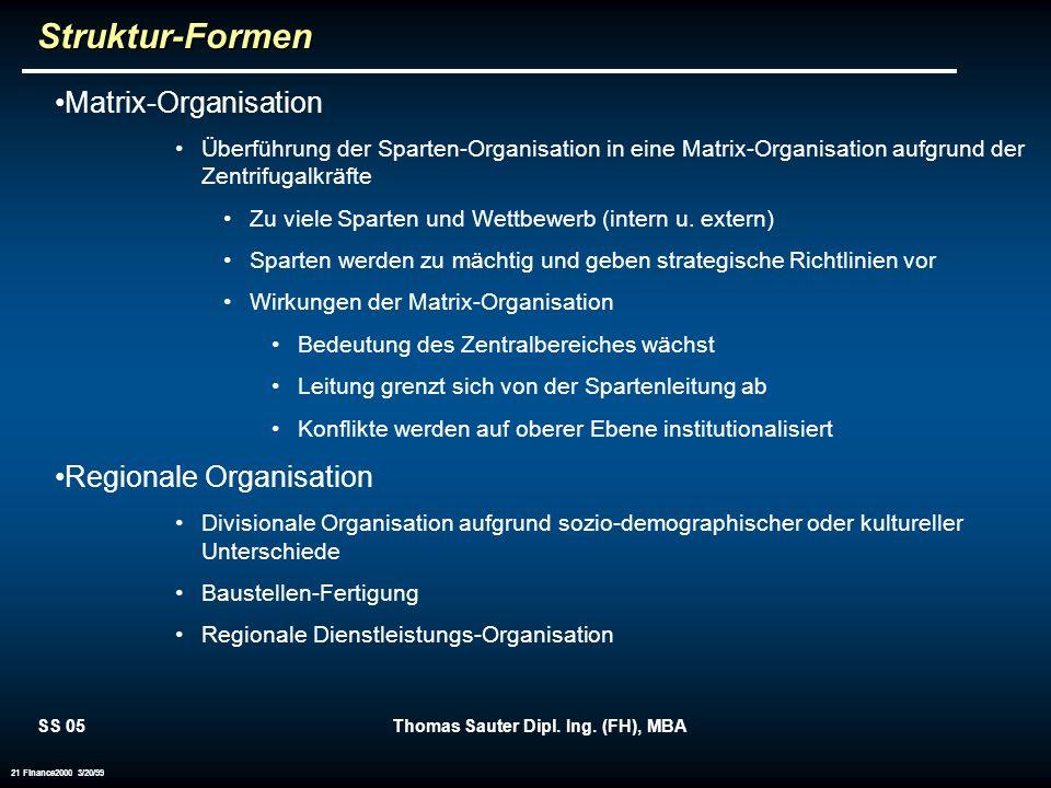 SS 05Thomas Sauter Dipl. Ing. (FH), MBA 21 Finance2000 3/20/99Struktur-Formen Matrix-Organisation Überführung der Sparten-Organisation in eine Matrix-