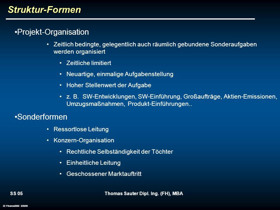 SS 05Thomas Sauter Dipl. Ing. (FH), MBA 22 Finance2000 3/20/99Struktur-Formen Projekt-Organisation Zeitlich bedingte, gelegentlich auch räumlich gebun