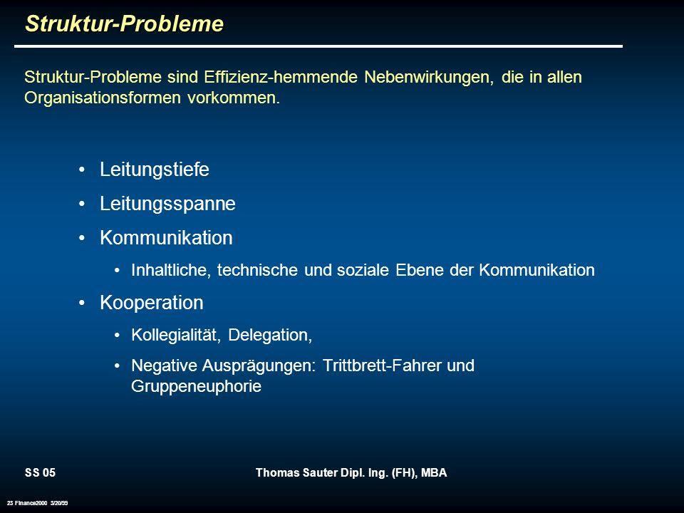 SS 05Thomas Sauter Dipl. Ing. (FH), MBA 23 Finance2000 3/20/99Struktur-Probleme Struktur-Probleme sind Effizienz-hemmende Nebenwirkungen, die in allen