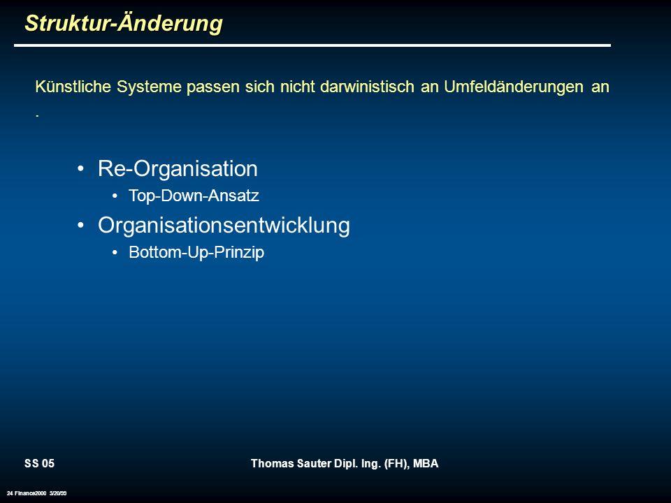 SS 05Thomas Sauter Dipl. Ing. (FH), MBA 24 Finance2000 3/20/99Struktur-Änderung Künstliche Systeme passen sich nicht darwinistisch an Umfeldänderungen
