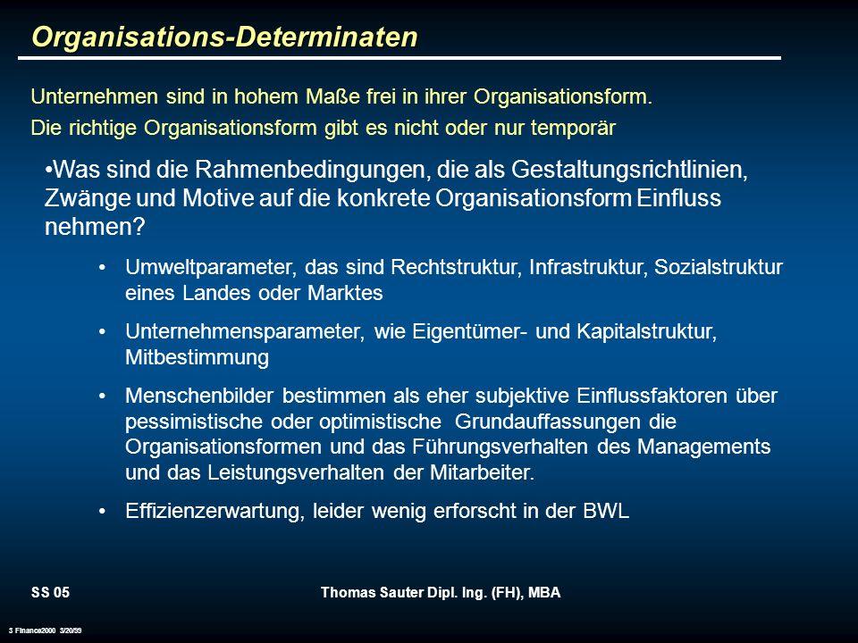 SS 05Thomas Sauter Dipl. Ing. (FH), MBA 3 Finance2000 3/20/99 Organisations-Determinaten Unternehmen sind in hohem Maße frei in ihrer Organisationsfor