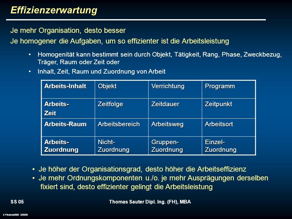 SS 05Thomas Sauter Dipl. Ing. (FH), MBA 4 Finance2000 3/20/99Effizienzerwartung Je mehr Organisation, desto besser Je homogener die Aufgaben, um so ef