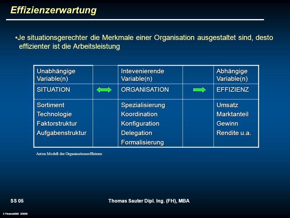 SS 05Thomas Sauter Dipl. Ing. (FH), MBA 5 Finance2000 3/20/99 Je situationsgerechter die Merkmale einer Organisation ausgestaltet sind, desto effizien