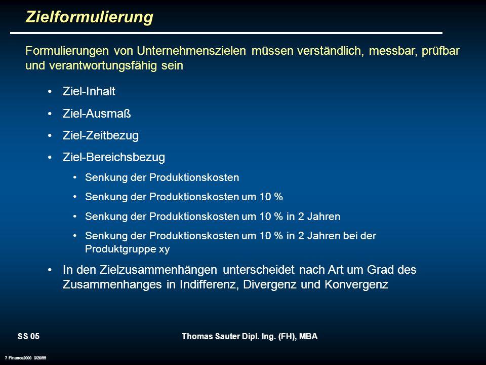 SS 05Thomas Sauter Dipl. Ing. (FH), MBA 7 Finance2000 3/20/99Zielformulierung Formulierungen von Unternehmenszielen müssen verständlich, messbar, prüf
