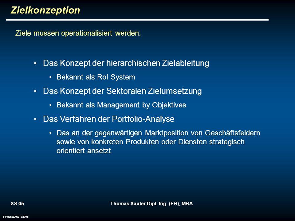 SS 05Thomas Sauter Dipl. Ing. (FH), MBA 8 Finance2000 3/20/99Zielkonzeption Ziele müssen operationalisiert werden. Das Konzept der hierarchischen Ziel