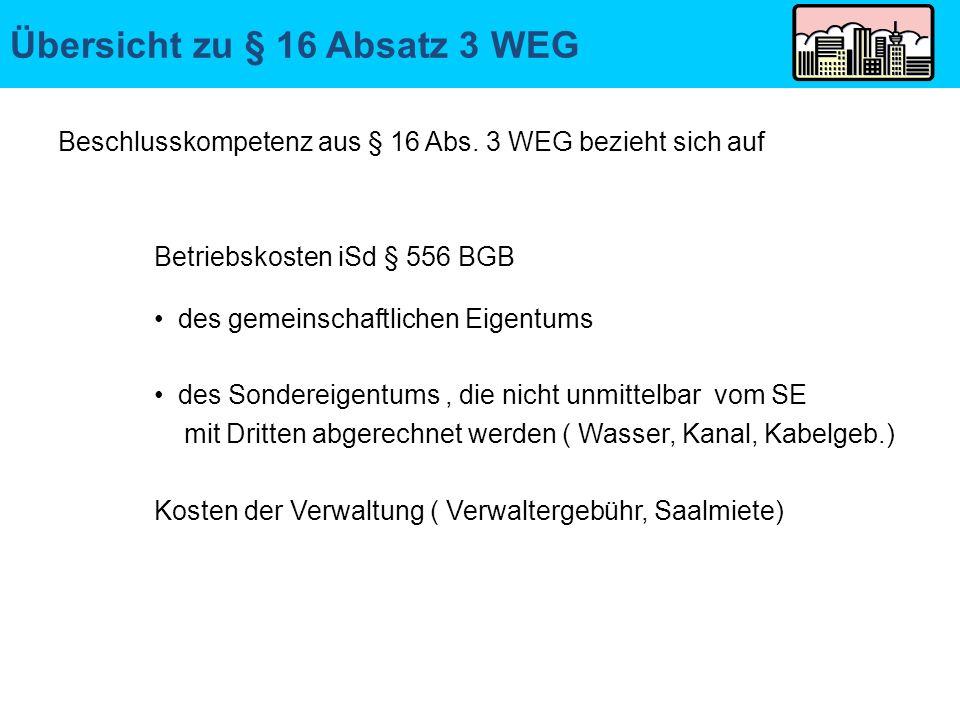 Übersicht zu § 16 Absatz 3 WEG Beschlusskompetenz aus § 16 Abs. 3 WEG bezieht sich auf Betriebskosten iSd § 556 BGB des gemeinschaftlichen Eigentums d