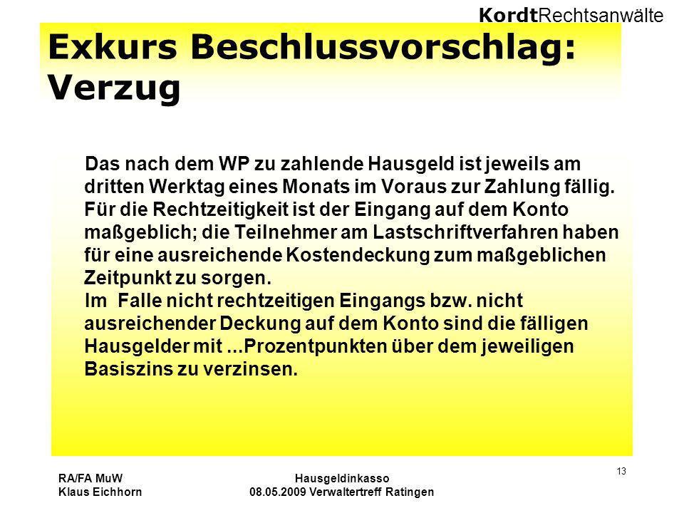 Kordt Rechtsanwälte RA/FA MuW Klaus Eichhorn Hausgeldinkasso 08.05.2009 Verwaltertreff Ratingen 13 Exkurs Beschlussvorschlag: Verzug Das nach dem WP z