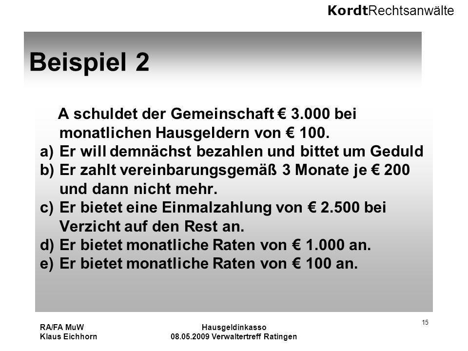 Kordt Rechtsanwälte RA/FA MuW Klaus Eichhorn Hausgeldinkasso 08.05.2009 Verwaltertreff Ratingen 15 Beispiel 2 A schuldet der Gemeinschaft 3.000 bei mo
