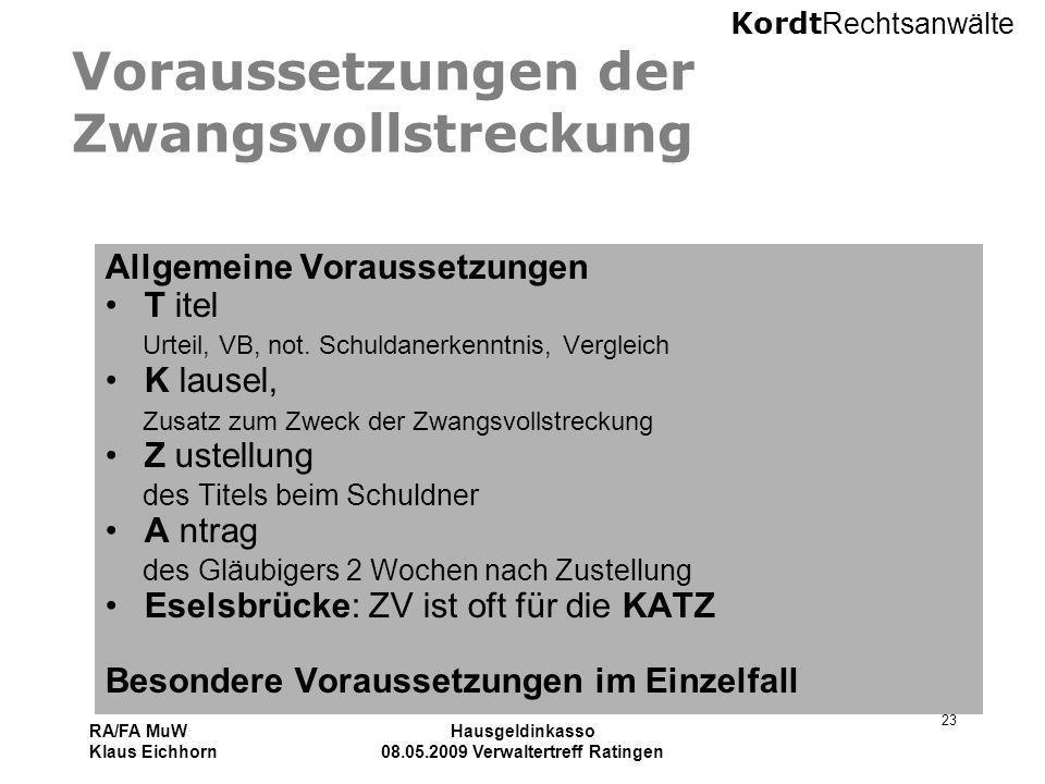Kordt Rechtsanwälte RA/FA MuW Klaus Eichhorn Hausgeldinkasso 08.05.2009 Verwaltertreff Ratingen 23 Voraussetzungen der Zwangsvollstreckung Allgemeine