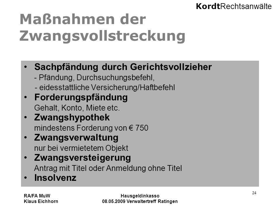 Kordt Rechtsanwälte RA/FA MuW Klaus Eichhorn Hausgeldinkasso 08.05.2009 Verwaltertreff Ratingen 24 Maßnahmen der Zwangsvollstreckung Sachpfändung durc