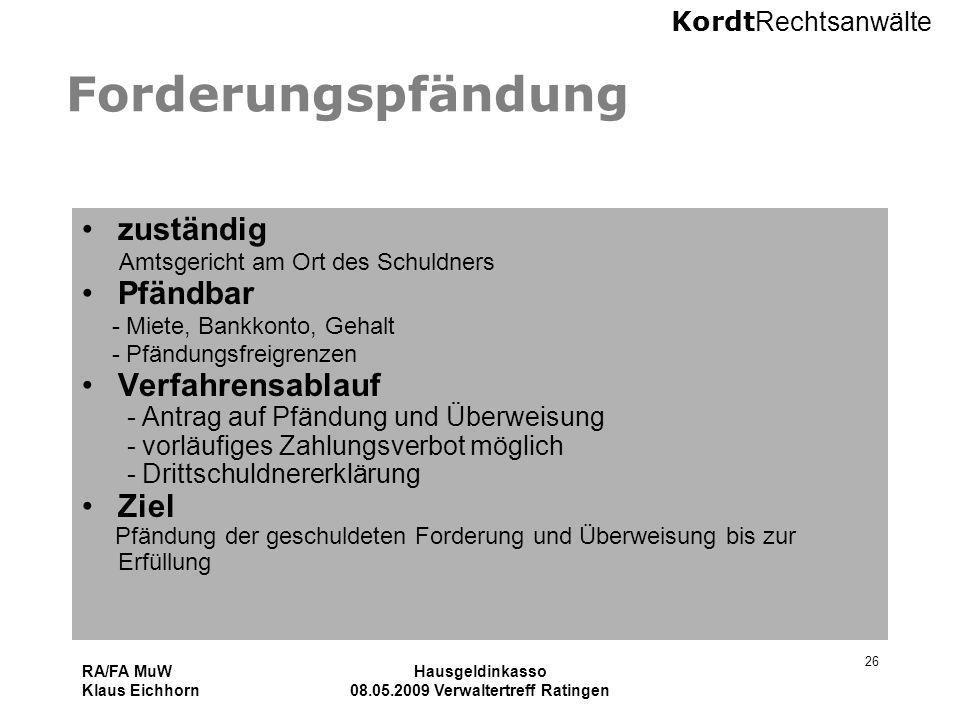Kordt Rechtsanwälte RA/FA MuW Klaus Eichhorn Hausgeldinkasso 08.05.2009 Verwaltertreff Ratingen 26 Forderungspfändung zuständig Amtsgericht am Ort des