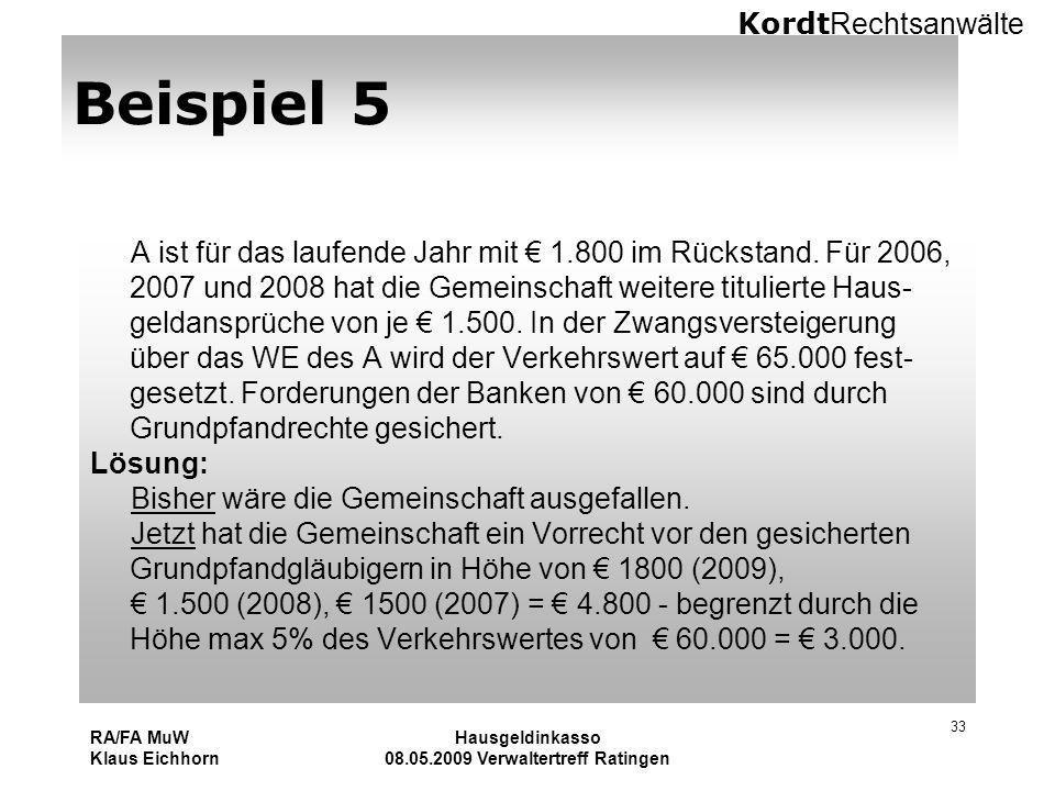 Kordt Rechtsanwälte RA/FA MuW Klaus Eichhorn Hausgeldinkasso 08.05.2009 Verwaltertreff Ratingen 33 Beispiel 5 A ist für das laufende Jahr mit 1.800 im