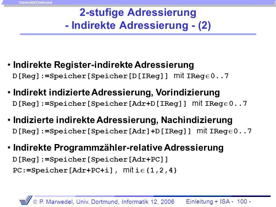 Einleitung + ISA - 99 - P. Marwedel, Univ. Dortmund, Informatik 12, 2006 Universität Dortmund 2-stufige Adressierung - Indirekte Adressierung - (1) In