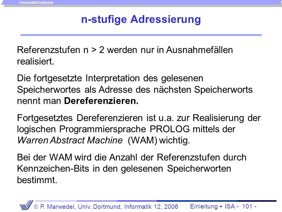 Einleitung + ISA - 100 - P. Marwedel, Univ. Dortmund, Informatik 12, 2006 Universität Dortmund 2-stufige Adressierung - Indirekte Adressierung - (2) I