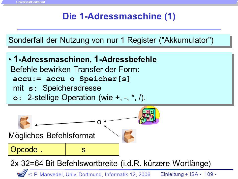 Einleitung + ISA - 108 - P. Marwedel, Univ. Dortmund, Informatik 12, 2006 Universität Dortmund Die 1½-Adressmaschine (2) Anwendung: Zerlegung der Anwe