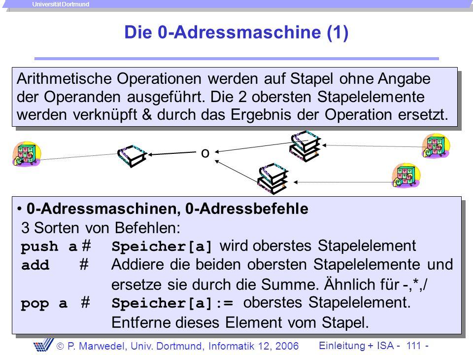 Einleitung + ISA - 110 - P. Marwedel, Univ. Dortmund, Informatik 12, 2006 Universität Dortmund Die 1-Adressmaschine (2) Anwendung: Zerlegung der Anwei