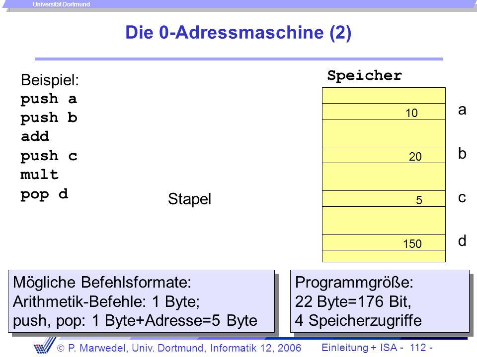 Einleitung + ISA - 111 - P. Marwedel, Univ. Dortmund, Informatik 12, 2006 Universität Dortmund Die 0-Adressmaschine (1) Arithmetische Operationen werd