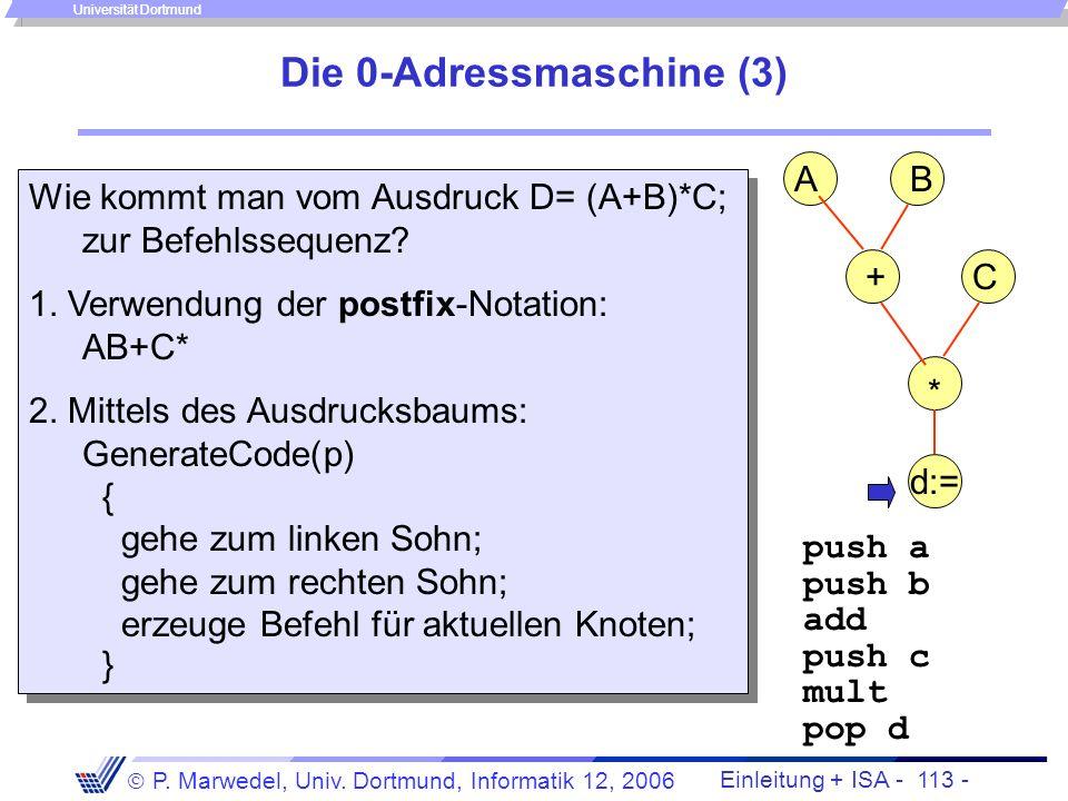 Einleitung + ISA - 112 - P. Marwedel, Univ. Dortmund, Informatik 12, 2006 Universität Dortmund Die 0-Adressmaschine (2) Mögliche Befehlsformate: Arith