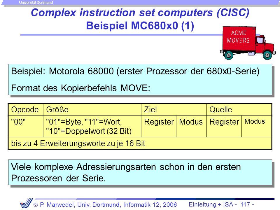 Einleitung + ISA - 116 - P. Marwedel, Univ. Dortmund, Informatik 12, 2006 Universität Dortmund Complex instruction set computers (CISC) Complex instru