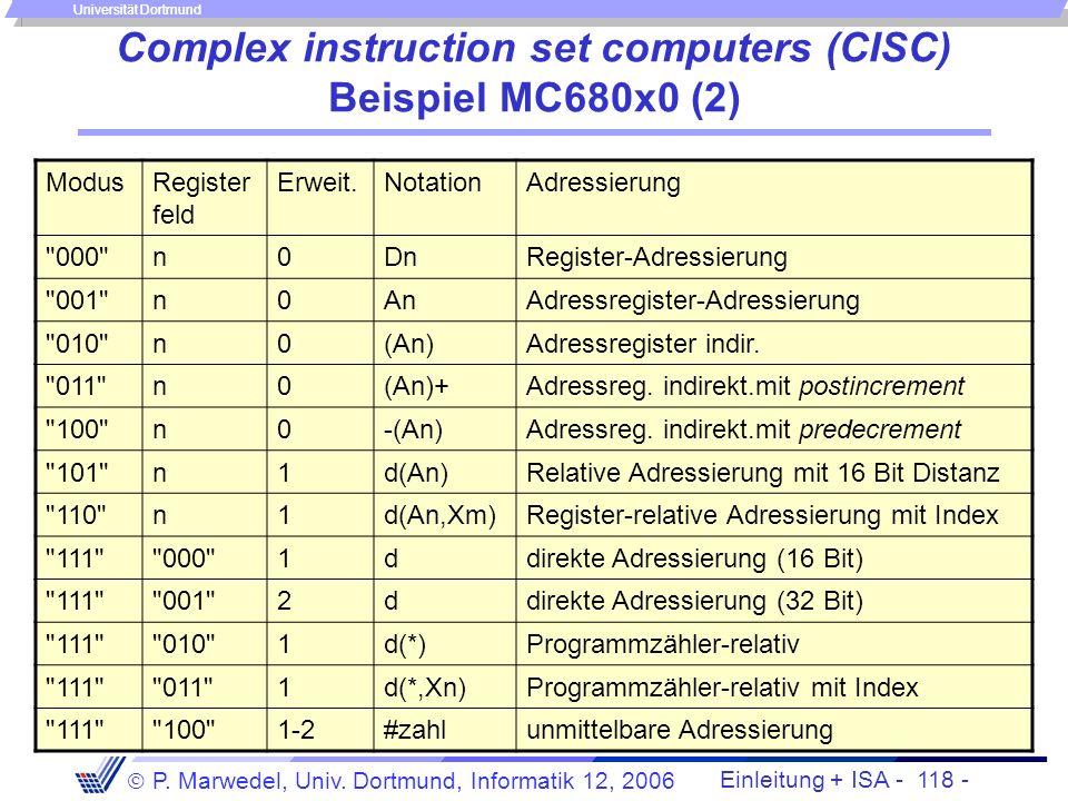 Einleitung + ISA - 117 - P. Marwedel, Univ. Dortmund, Informatik 12, 2006 Universität Dortmund Complex instruction set computers (CISC) Beispiel MC680