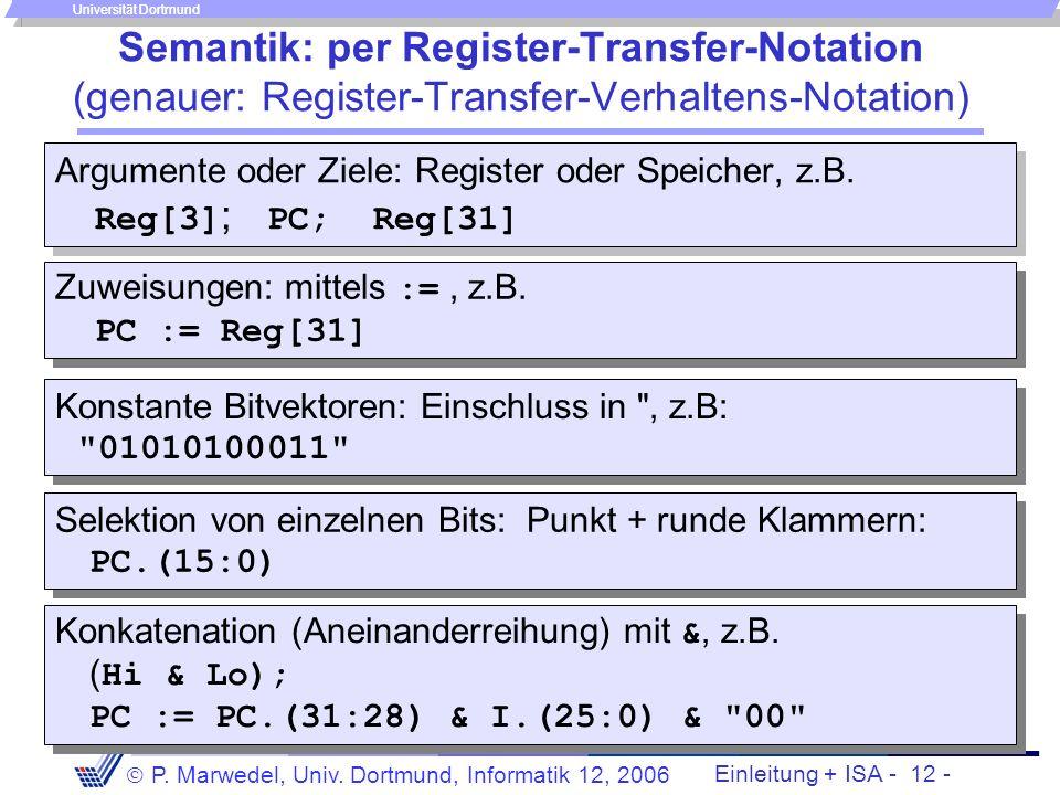 Einleitung + ISA - 11 - P. Marwedel, Univ. Dortmund, Informatik 12, 2006 Universität Dortmund Simulation des MIPS-Befehlssatzes mit SPIM Warum Simulat
