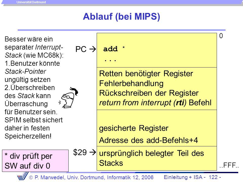Einleitung + ISA - 121 - P. Marwedel, Univ. Dortmund, Informatik 12, 2006 Universität Dortmund Unterbrechungen Während der normalen Bearbeitung eines