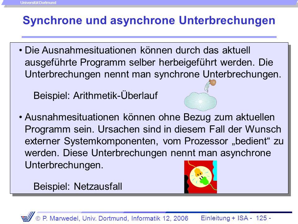 Einleitung + ISA - 124 - P. Marwedel, Univ. Dortmund, Informatik 12, 2006 Universität Dortmund Interrupts und Prozeduren (2) Bei Vorliegen mehrerer Un
