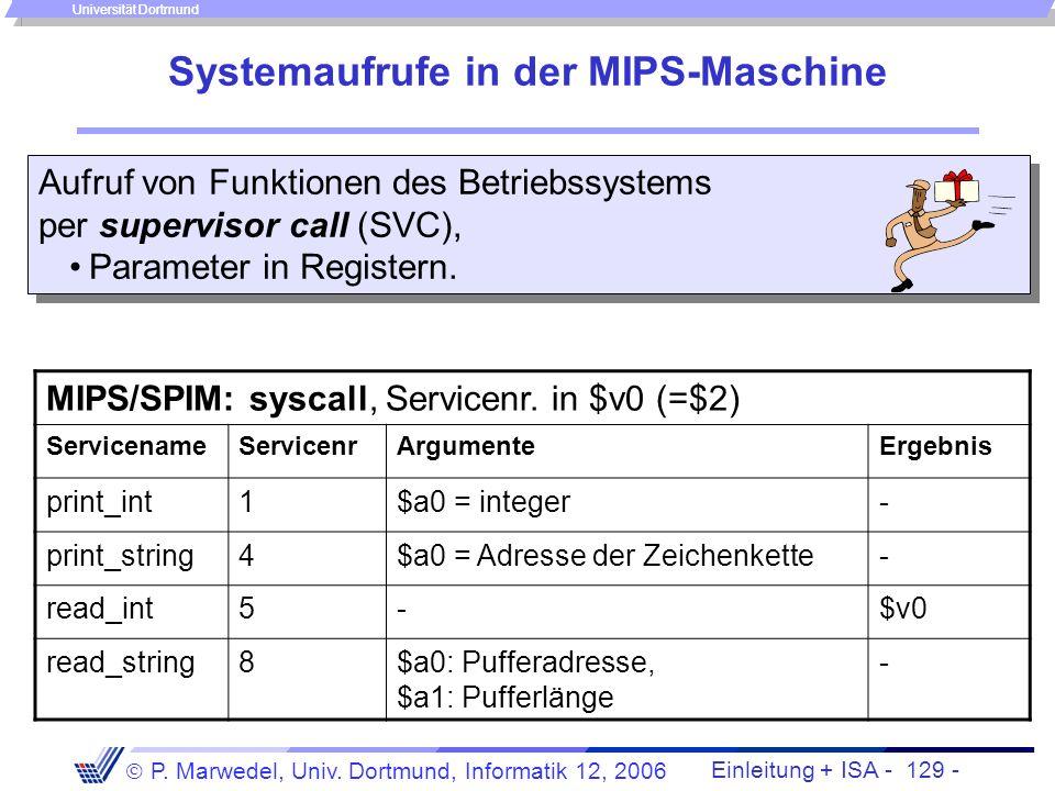 Einleitung + ISA - 128 - P. Marwedel, Univ. Dortmund, Informatik 12, 2006 Universität Dortmund Übersicht über verschiedene Unterbrechungen KlasseSynch