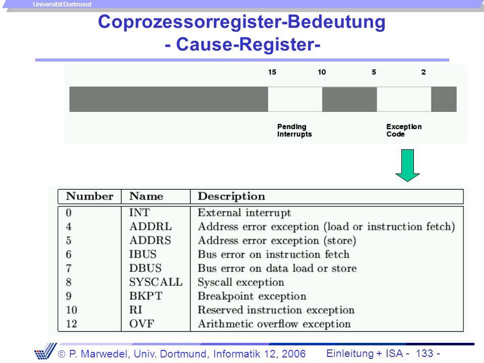 Einleitung + ISA - 132 - P. Marwedel, Univ. Dortmund, Informatik 12, 2006 Universität Dortmund Unterbrechungen bei MIPS/SPIM Im Falle einer Ausnahme e