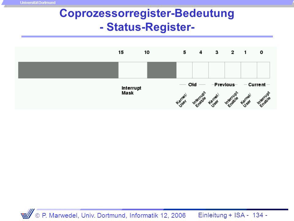 Einleitung + ISA - 133 - P. Marwedel, Univ. Dortmund, Informatik 12, 2006 Universität Dortmund Coprozessorregister-Bedeutung - Cause-Register-