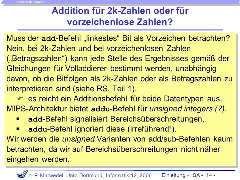 Einleitung + ISA - 13 - P. Marwedel, Univ. Dortmund, Informatik 12, 2006 Universität Dortmund Semantik des Additionsbefehls Beispiel: add $3,$2,$1 # R
