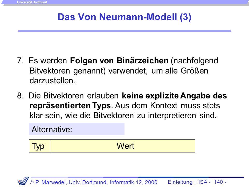 Einleitung + ISA - 139 - P. Marwedel, Univ. Dortmund, Informatik 12, 2006 Universität Dortmund Das Von Neumann-Modell (2) 2. Die Struktur der Anlage i