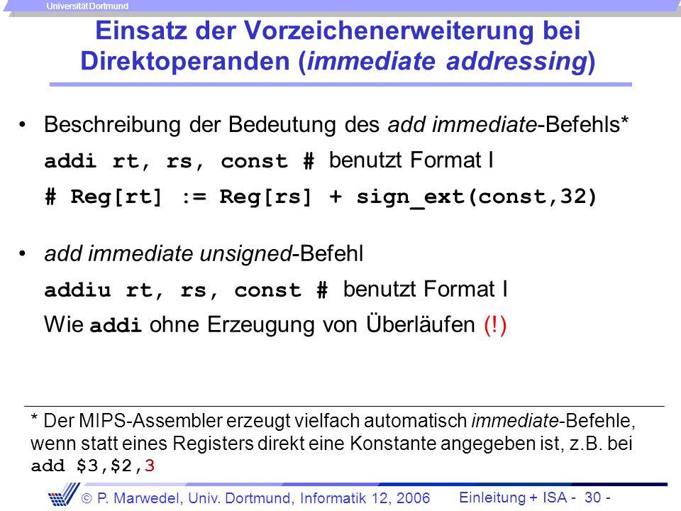 Einleitung + ISA - 29 - P. Marwedel, Univ. Dortmund, Informatik 12, 2006 Universität Dortmund Auswirkung der Nutzung von sign_ext bei der Adressierung