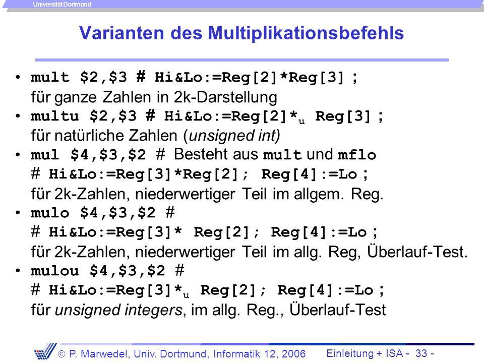Einleitung + ISA - 32 - P. Marwedel, Univ. Dortmund, Informatik 12, 2006 Universität Dortmund Multiplikationsbefehle Die Multiplikation liefert doppel