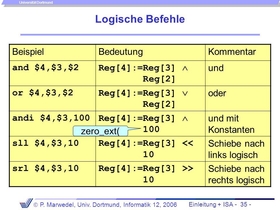 Einleitung + ISA - 34 - P. Marwedel, Univ. Dortmund, Informatik 12, 2006 Universität Dortmund Divisionsbefehle Problem: man möchte gern sowohl den Quo