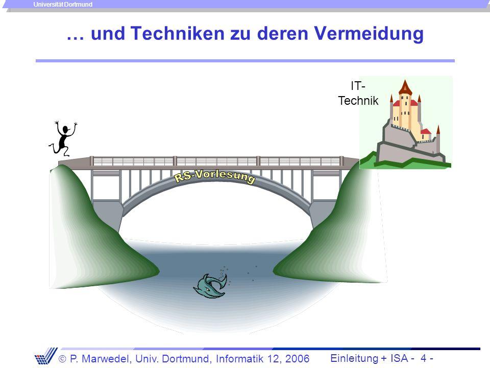 Einleitung + ISA - 3 - P. Marwedel, Univ. Dortmund, Informatik 12, 2006 Universität Dortmund Problematische Situationen … IT- Technik