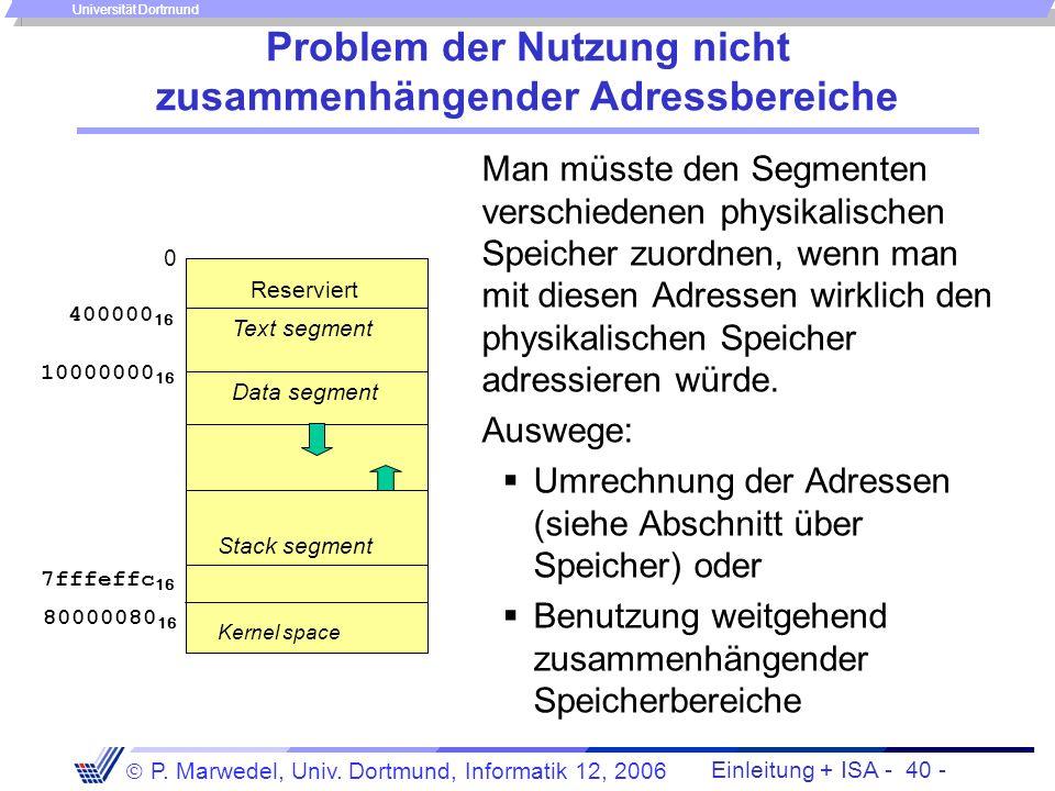 Einleitung + ISA - 39 - P. Marwedel, Univ. Dortmund, Informatik 12, 2006 Universität Dortmund Einteilung des Speicherbereichs (memory map) in SPIM fol