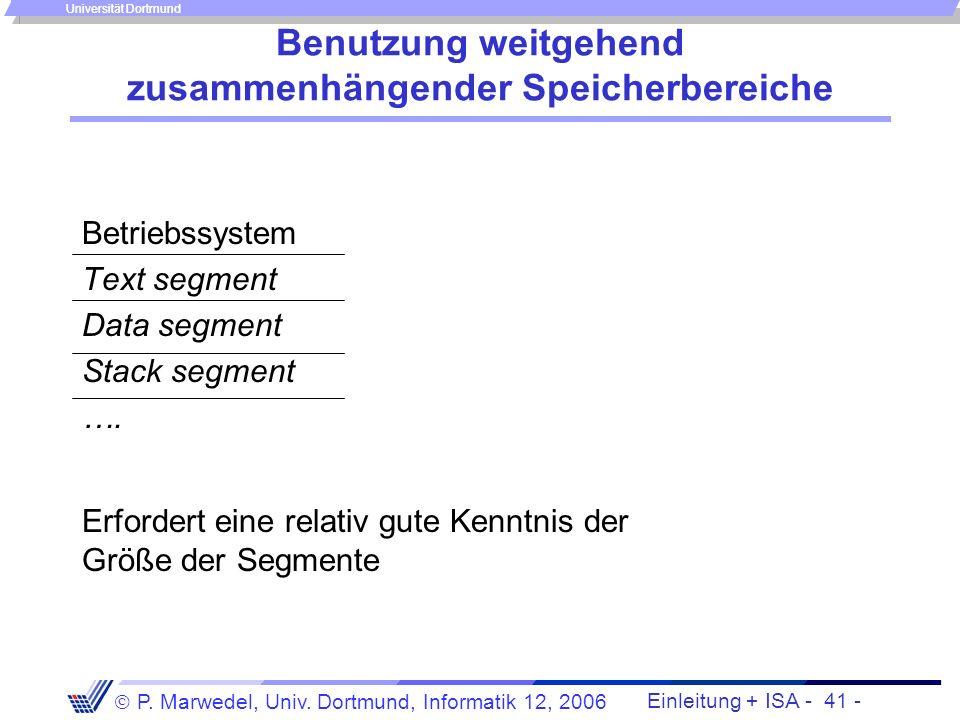 Einleitung + ISA - 40 - P. Marwedel, Univ. Dortmund, Informatik 12, 2006 Universität Dortmund Problem der Nutzung nicht zusammenhängender Adressbereic