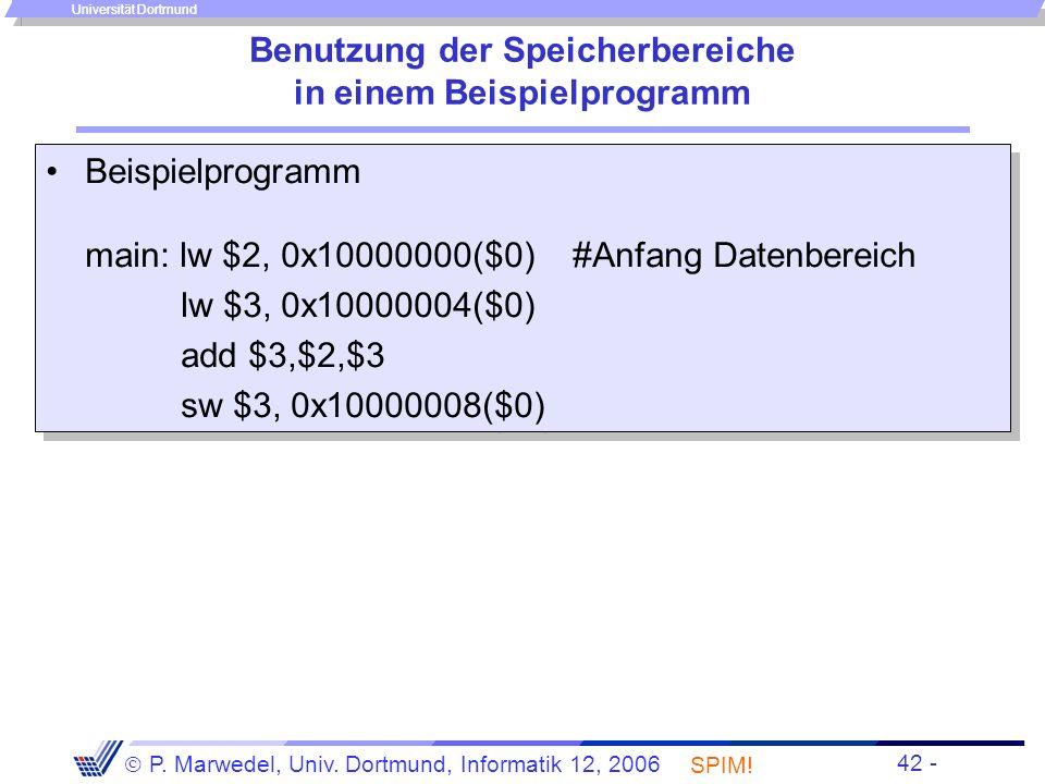 Einleitung + ISA - 41 - P. Marwedel, Univ. Dortmund, Informatik 12, 2006 Universität Dortmund Benutzung weitgehend zusammenhängender Speicherbereiche