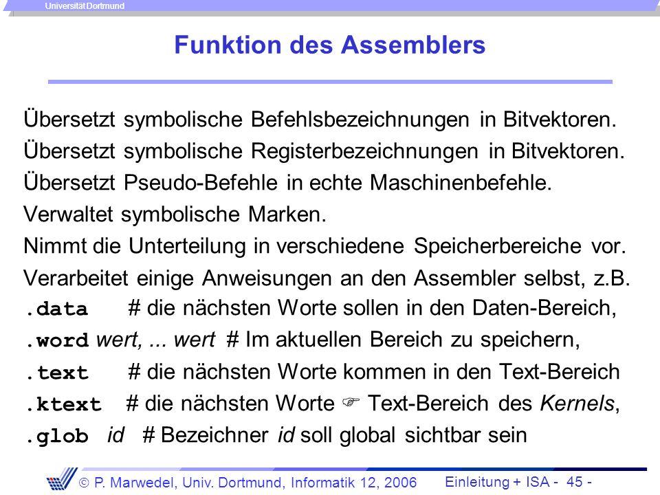 Einleitung + ISA - 44 - P. Marwedel, Univ. Dortmund, Informatik 12, 2006 Universität Dortmund Transformation der Programmdarstellungen Assemblerprogra