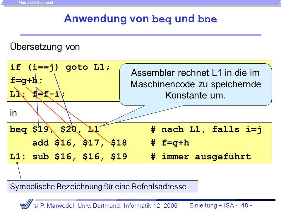 Einleitung + ISA - 47 - P. Marwedel, Univ. Dortmund, Informatik 12, 2006 Universität Dortmund 4.2.1.5 Sprungbefehle Problem mit dem bislang erklärten