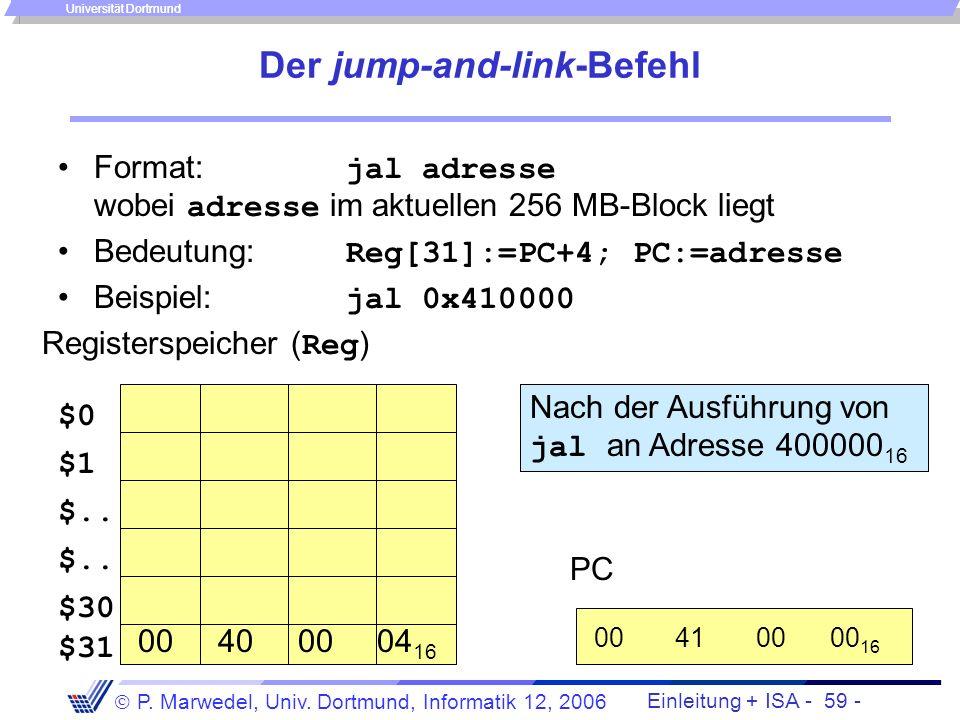 Einleitung + ISA - 58 - P. Marwedel, Univ. Dortmund, Informatik 12, 2006 Universität Dortmund 4.2.1.6 Prozeduraufrufe void function C {... } void func