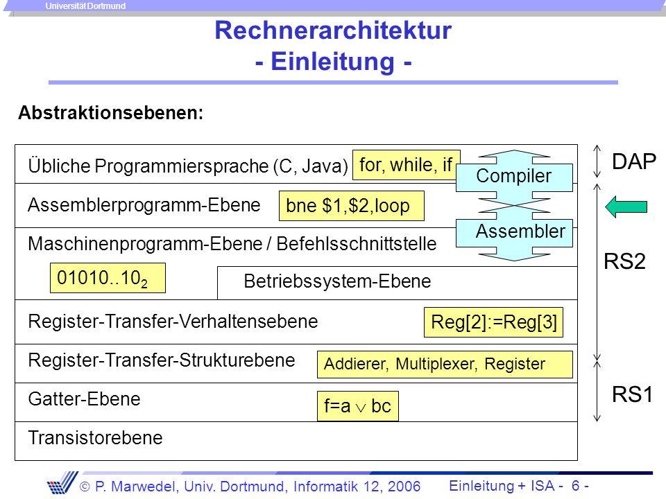 Einleitung + ISA - 5 - P. Marwedel, Univ. Dortmund, Informatik 12, 2006 Universität Dortmund Thema und Stil des zweiten Teils der Vorlesung Ziel: Vers