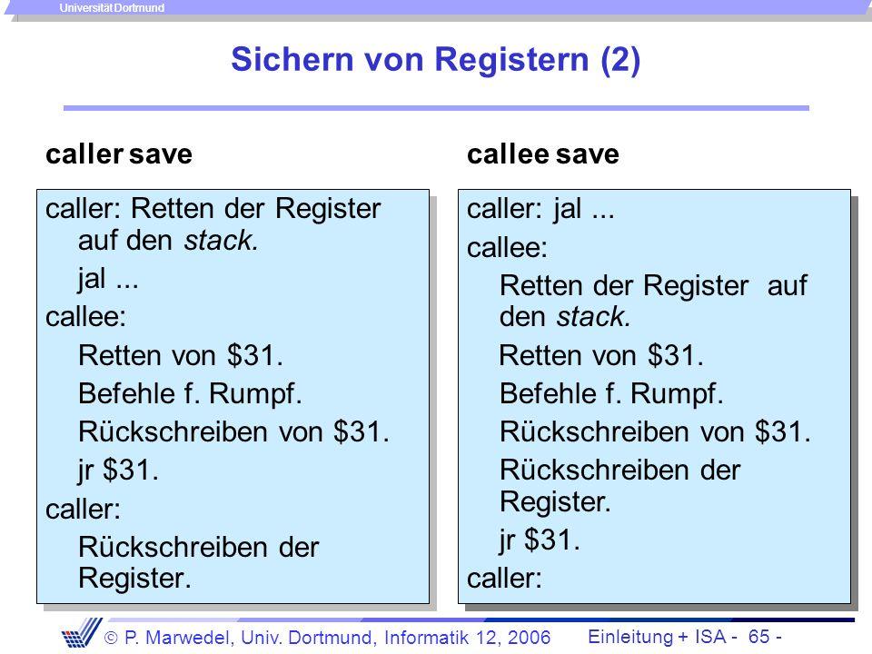 Einleitung + ISA - 64 - P. Marwedel, Univ. Dortmund, Informatik 12, 2006 Universität Dortmund Sichern von Registern Einige Register sollten von allen